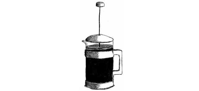 "Cafetiere illustration - ""I Remember"" flash fiction"