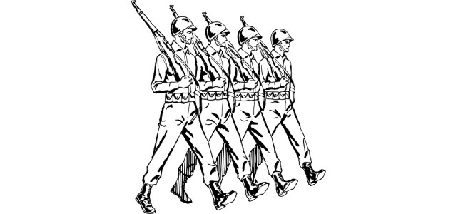 "Line of soldiers illustration - ""The Mission"" microfiction"