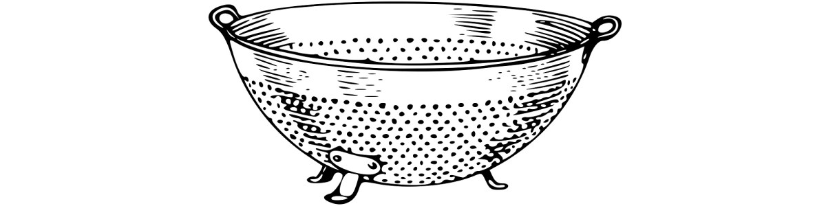 "Colander illustration - ""Trending"" flash fiction"