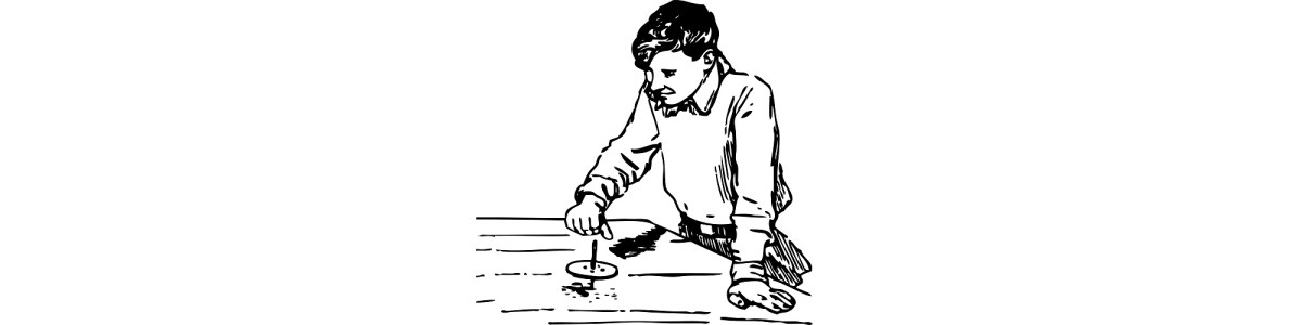 "Illustration of boy spinning a top - ""The Flingahrung"" microfiction"