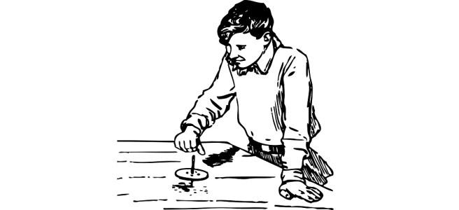 "Illustration of boy spinning a top - ""The Flingahrung"" microfiction"