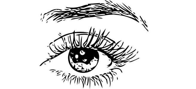"Illustration of eye and eyebrow - ""Again"" microfiction"