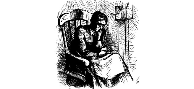 """An old woman in a rocking chair line drawing illustration - """"A Snapshot of Destiny"""" flash fiction"""
