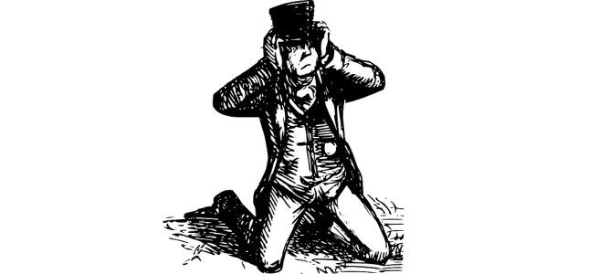 "Man struggling with top hat illustration - ""Eff-Eff-Effervescent"" microfiction"