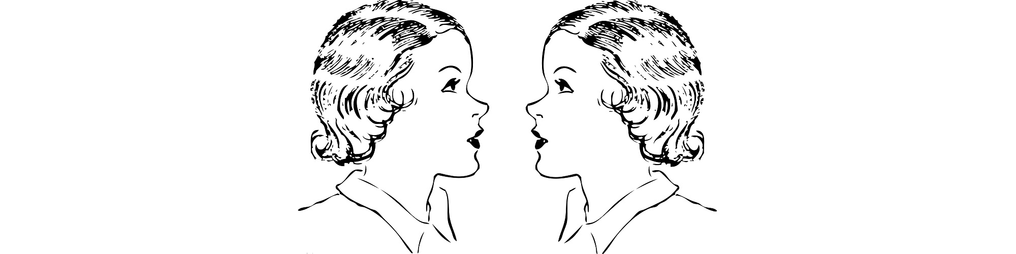 "Two identical women facing each other illustration - ""Pep Talk"" Flash Fiction"