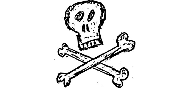 "Skull and crossbones sketch - ""War"" flash fiction"