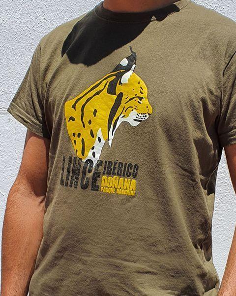 Camiseta perfil lince ibérico Kaki