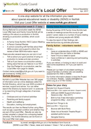 thumbnail of Local Offer Schools Newsletter APRIL 2017