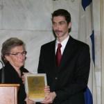 Η μητέρα του George Best Costacos Αντωνία Κωστάκου με τον Τριπολίτη πρόεδρο του Ιδρύματος στη NEW YORK Νίκο Φλώρο.