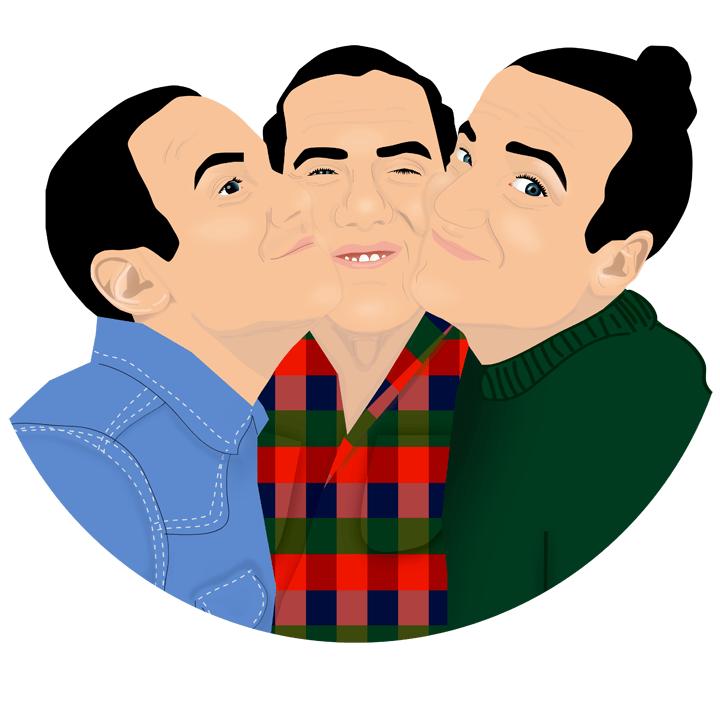 Illustration av tre bröder gjord i Illustrator.