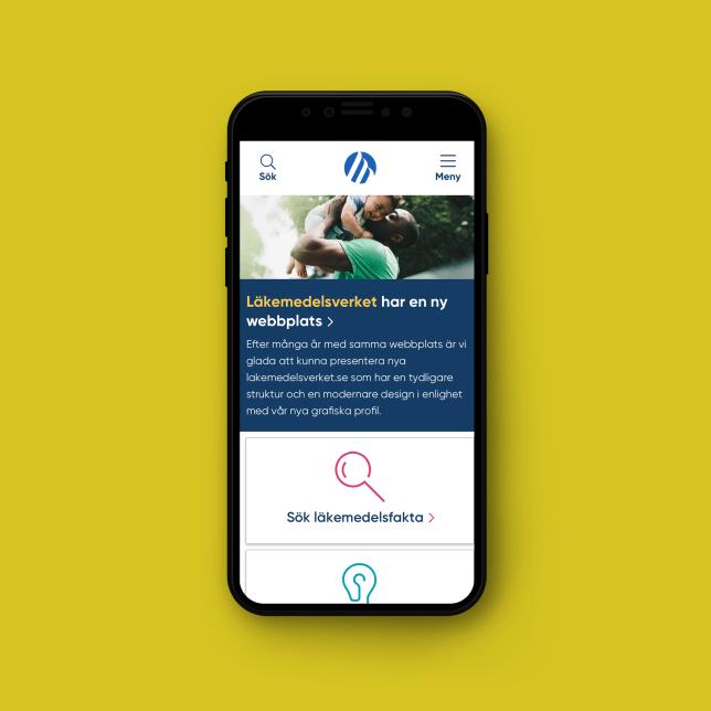 Läkemedelsverkets hemsida i mobil