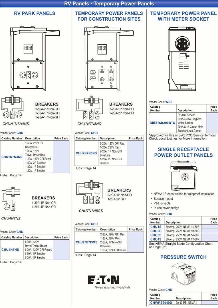 medium resolution of  rv panels temporary power panels print catalog page 16 on