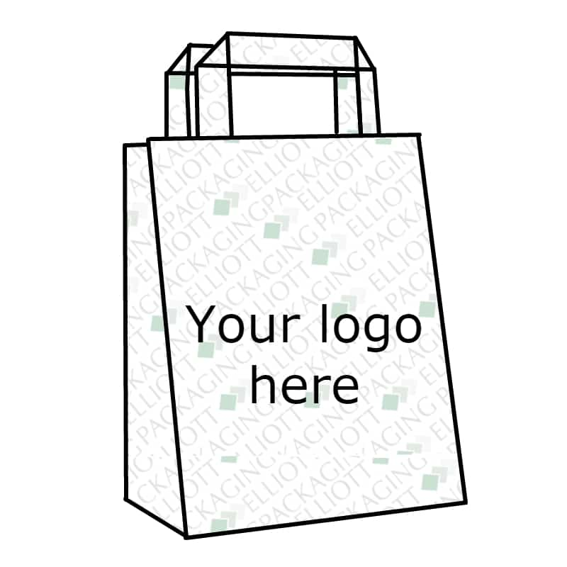 Brown or white paper kraft bag with tape handles. Custom bespoke printed.