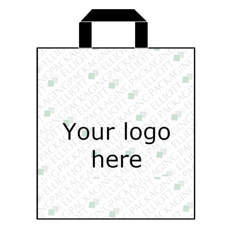Elliott Packaging Printed Polythene Flexiloop handle carrier bag. Eco Friendly options available.