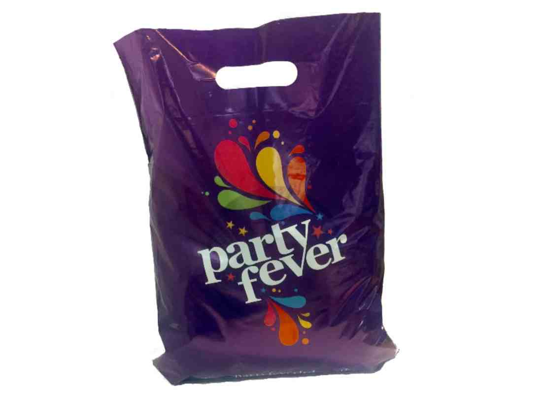 Purple patch handle carrier bags. Eco friendly options available.