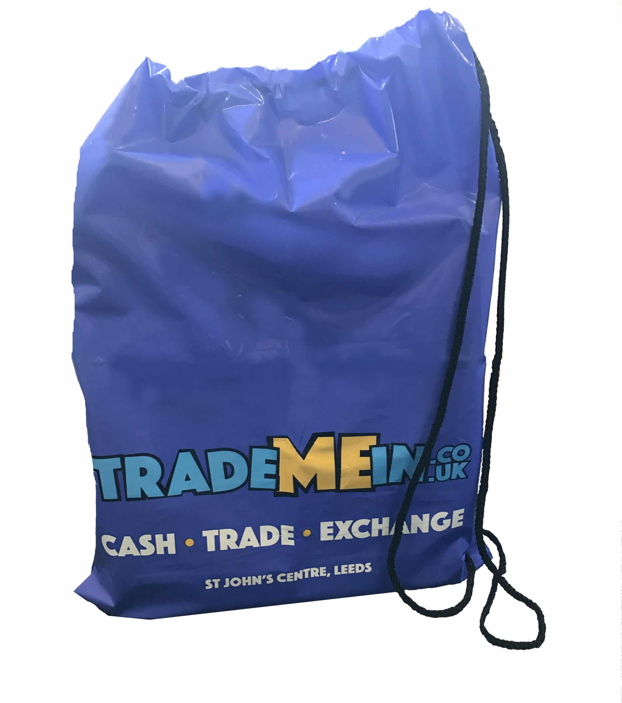 Printed polythene cord drawstring duffle bag. Custom printed made from LDPE polythene.