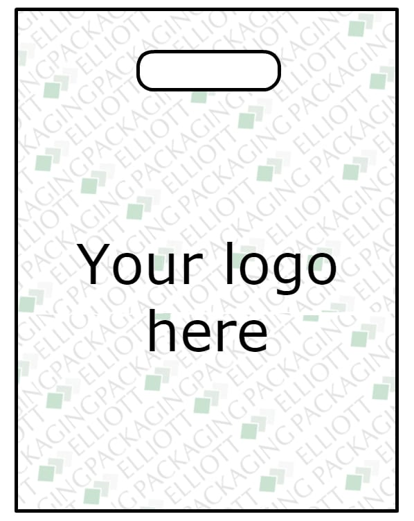 Patch handle carrier bag with your design. Made from plastic LDPE. Re-usable when over 70 micron.