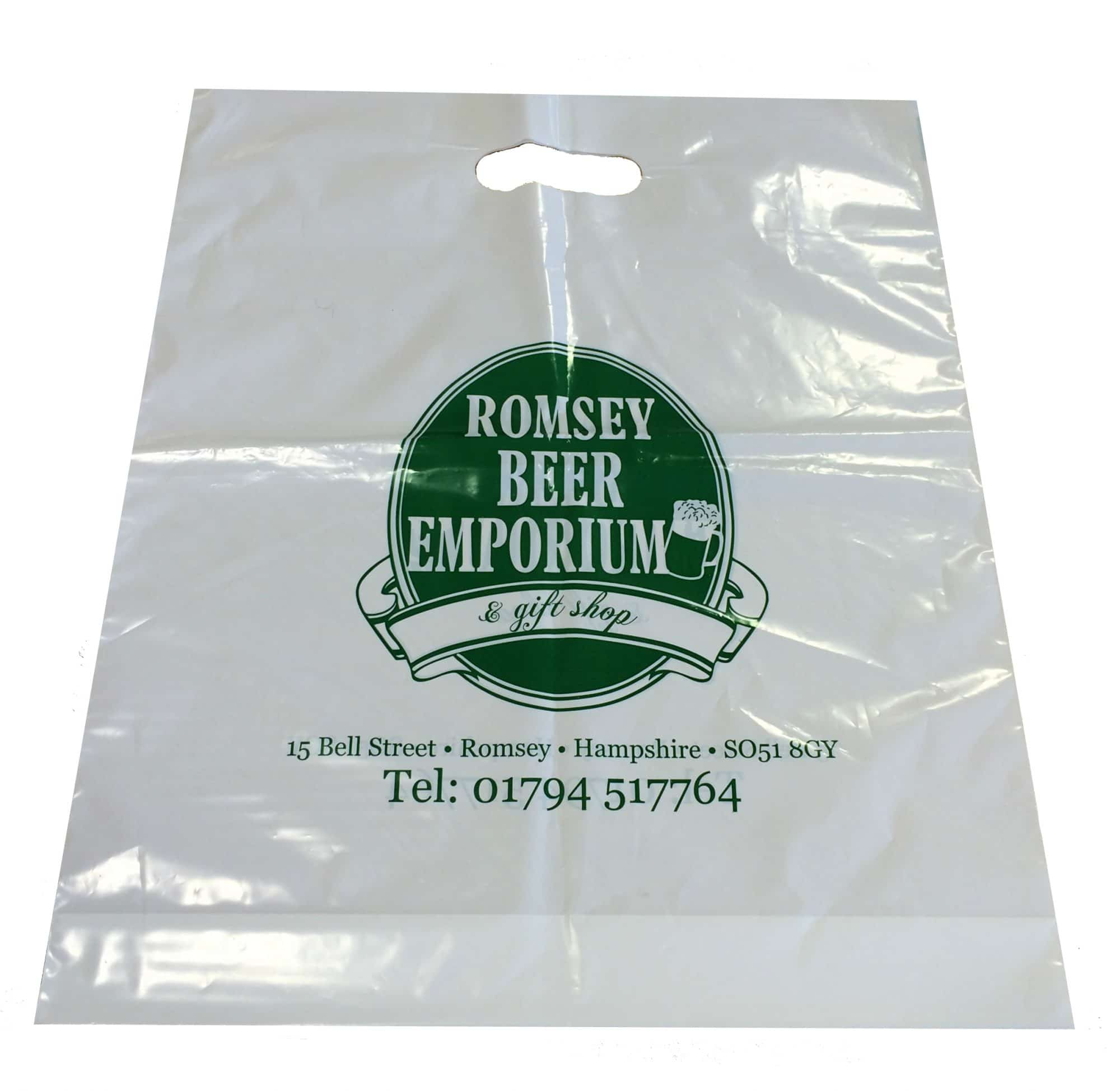 Plastic patch handle carrier bags. White polythene. Re-enforced patch behind the handle. Printed with your design.