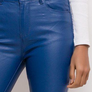 blauwe leaderlook broek