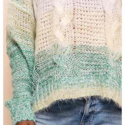 warme meerkleurige trui met groen accent