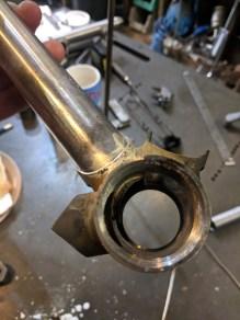 Seat tube brazed into bottom bracket, plenty of silver all the way through