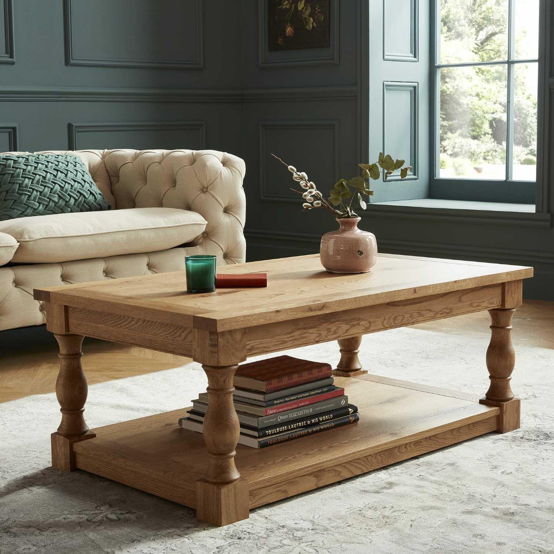 westbury rustic style oak wood rectangular living room coffee table with underneath shelf 43 x 110cm