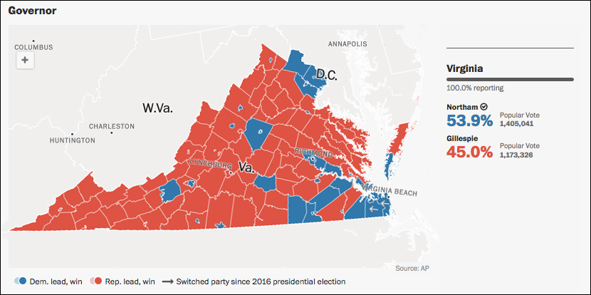 Image result for virginia 2017 gubernatorial map