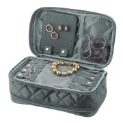 Grey Jewelry & Makeup Bag
