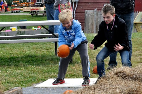 Pumpkin Bowling at Ellms Family Farm in Ballston Spa near Saratoga