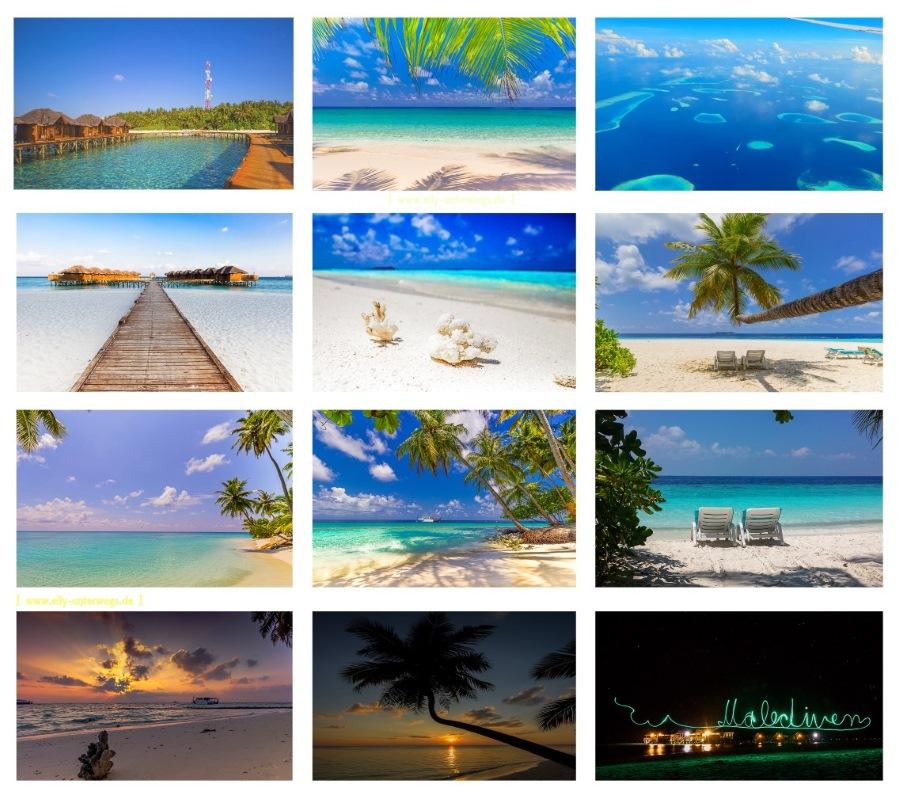 Collage Malediven mit den schönsten Fotos von unserem Maledivenurlaub; Traumstrand, Palmenstrand, Sonnenuntergang, usw