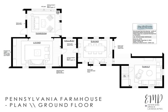 penn farmhouse plan ground floor - Elly MacDonald Design - Singapore interior designer
