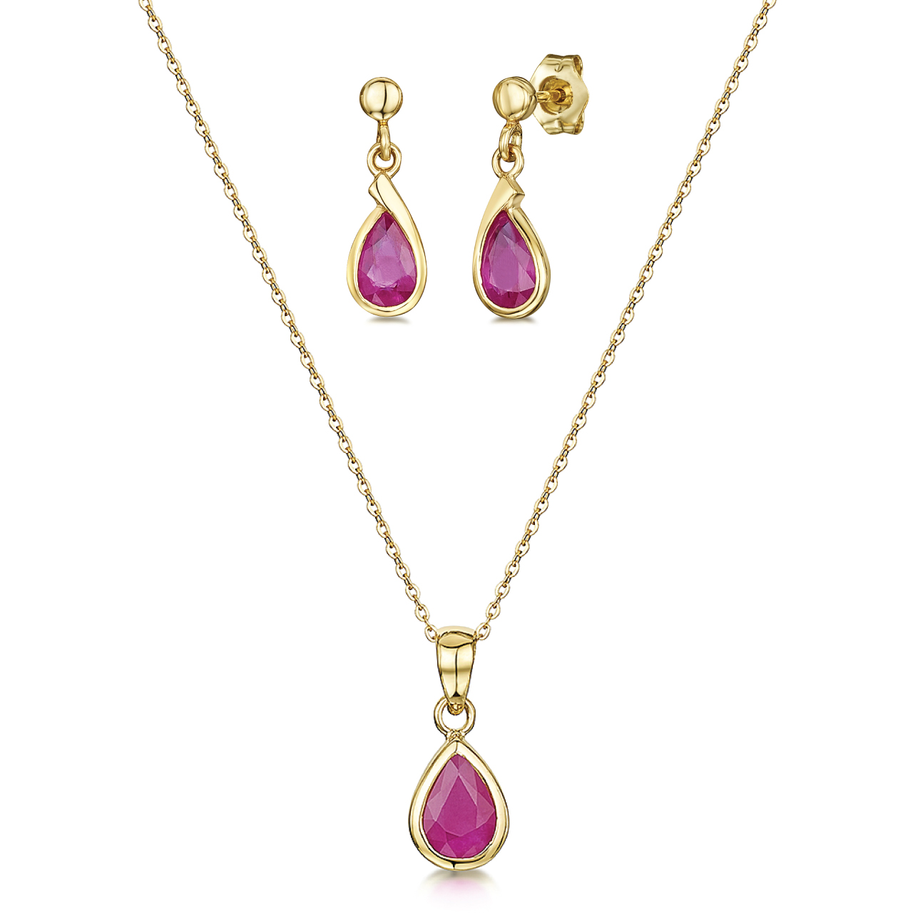 9ct Yellow Gold Ruby 18'' Chain & Pendant and Drop