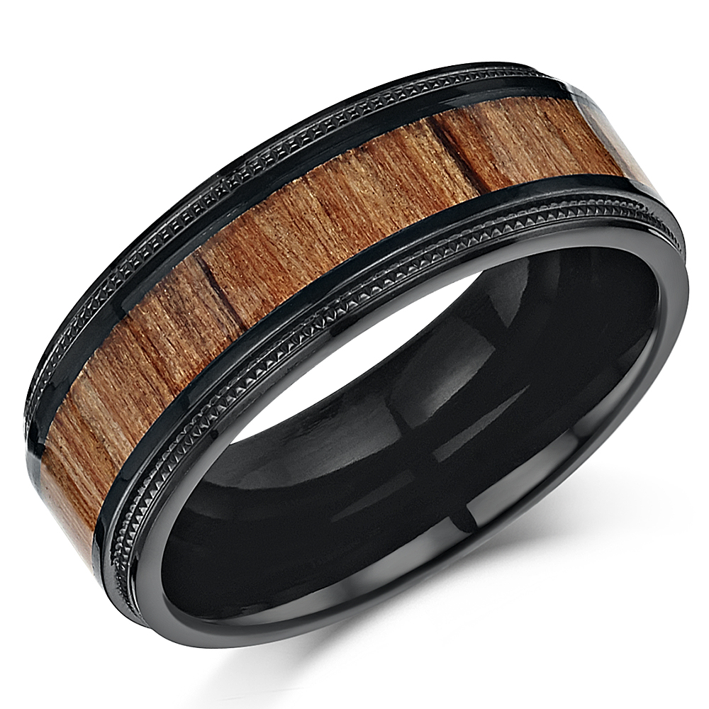 His Amp Hers Black Titanium Wedding Ring Band Set With Koa