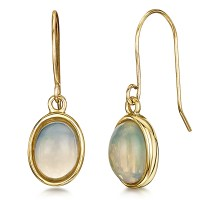9ct Yellow Gold Opal Drop Earrings - 9ct Gold Earrings at ...