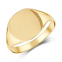 9ct Yellow Gold Men's Cushion Shape Light weight Signet ...