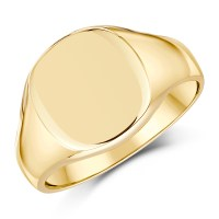 9ct Yellow Gold Men's cushion Shape Extra Heavy weight ...