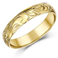 4mm 9ct Yellow Gold Swirl Patterned Wedding Ring Band ...