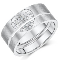 Titanium Lover's Heart Pair Couples Anniversary Promise ...