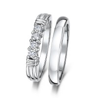 Cobalt 3mm Engagement Eternity & Wedding Band Bridal Set ...