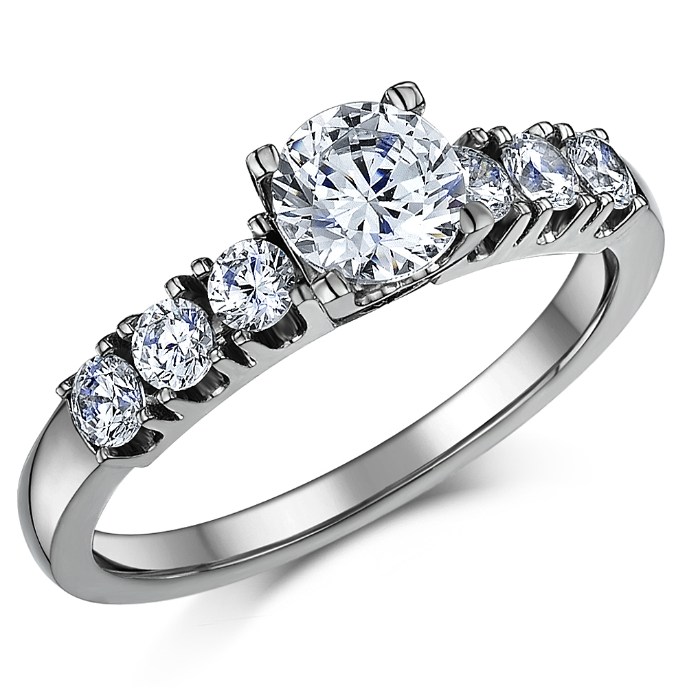 Triple Titanium CZ Bridal Set Engagement Eternity and Single Stone ring  Bridal Ring Sets at