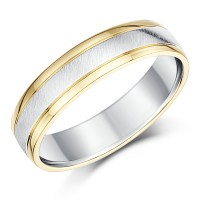 His & Hers 9ct Yellow Gold & Silver Wedding Rings 5&6mm ...