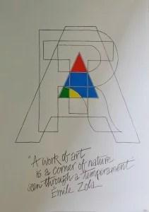 rt IBM, firmado, con frase de Emile Zola, 84x60 cm
