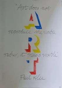Art IBM, firmado, con frase de Paul Klee, 84x60 cm