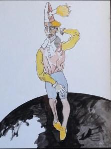 Castillo Jorge, personaje de circo, tinta china y gouasche papel pegado a tabla, enmarcado, dibujo 39x30 cms. y marco 58x48 cms. 1200 (1)