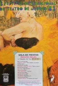 Festival internacional de teatro, Toulouse Lautrec, la payasa Cgau-U-Kao, cartel de 1983, 70x49 cms.   (5)