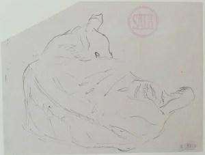 Sala Emilio, Gato tumbado de espaldas, dibujo plumilla papel, enmarcado, dibujo 12,50x16 cms. y marco 26x29,50 cms.  (5)