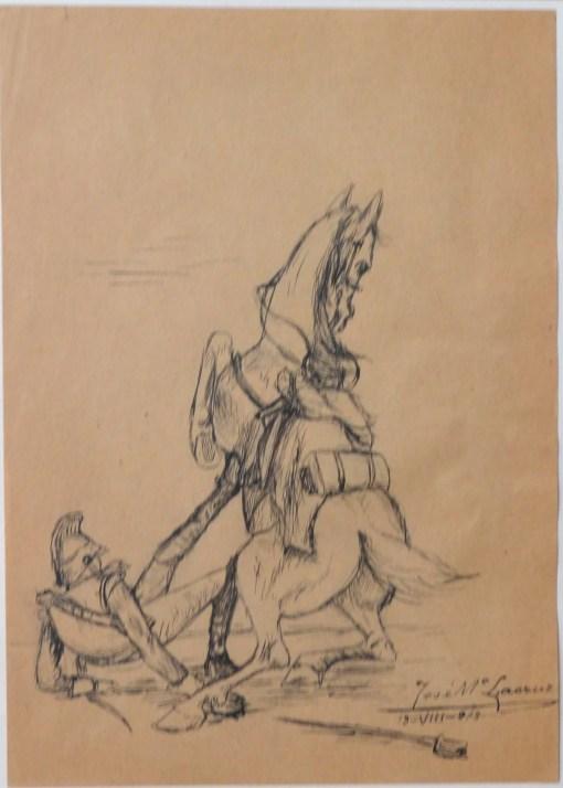 lacruz-jose-maria-1913-caida-del-caballo-dibujo-plumilla-papel-enmarcado-dibujo-21×15-cms-y-marco-44×3250-cms-1