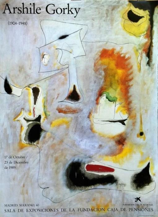 Gorky Archile, Charred Beloved, cartel original exposición en Fundación Caja de Pensiones en 1989, 81×59,50 cms. (3)