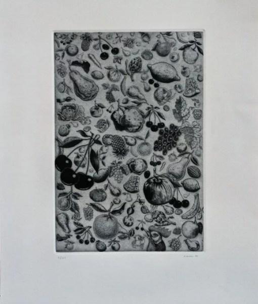 """Alfredo Alcain – """"Lluvia de frutas"""" grabado – El Marco Verde – Obra ..."""