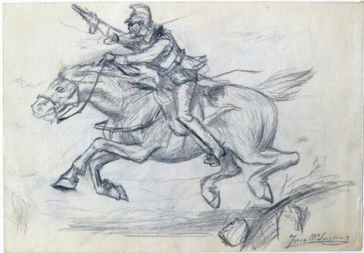 Lacruz Jose María, Carga de caballería, dibujo lápiz papel, enmarcado, dibujo 16×23 cms. y marco 30×38 cms. (3)